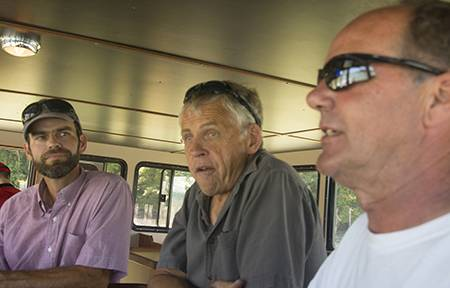 Lummi Island Wild's reef net manager Ian Kirouac, president Keith Carpenter and Mavrik's sea trial captain Chuck Albertson