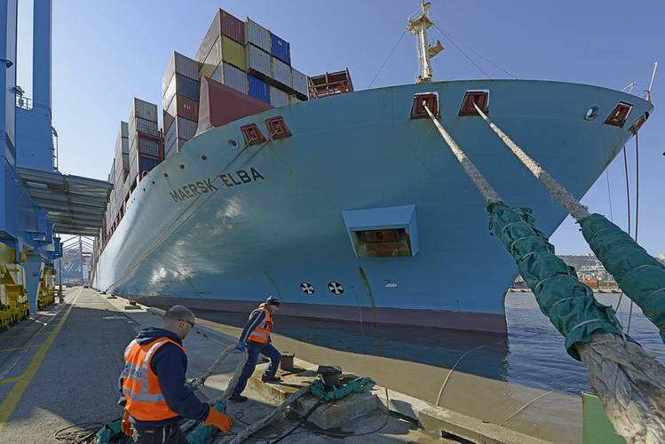 Maersk Elba was serviced by four STS cranes with an average productivity of 136 containers per ship hour (Photo: Haifa Port Company)