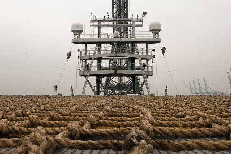 Main mast from helideck of Oleg Strashnov. Fiber optic patch panel for shipwide network distribution onboard Oleg Strashnov.