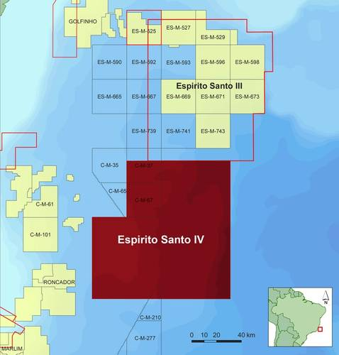 Map showing location of CGG's Espirito Santo IV multi-client survey offshore Brazil (Image: CGG)