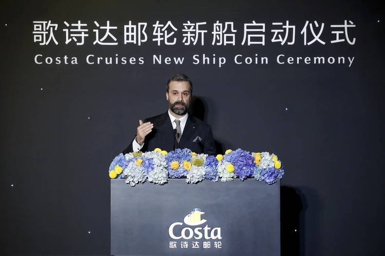 Mario Zanetti, President of Costa Group Asia gives speech at Costa Cruises New Ship Coin Ceremony (Photo: Costa Cruises)