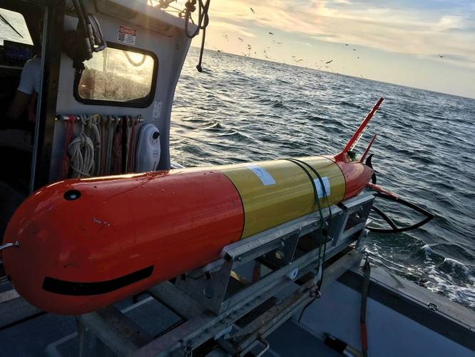 MBARI's long-range AUV on board the research vessel Paragon in Monterey Bay. Credit: (c) 2018 MBARI