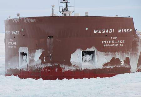 Mesabi Miner suffered a puncture in its bow about 4 feet above the waterline. (U.S. Coast Guard photo)