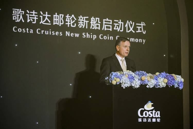 Michael Thamm, CEO Costa Group, CEO Carnival Asia gives speech at Costa Cruises New Ship Coin Ceremony (Photo: Costa Cruises)