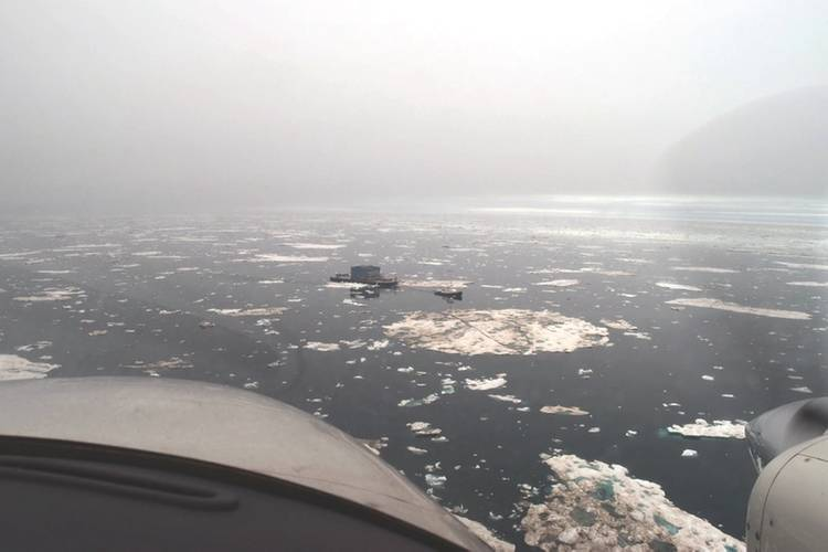 Michele Foss in ice en route to the Point Thomson project site (Image courtesy of Foss Maritime)