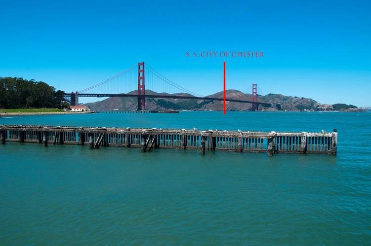 Modern view of the Golden Gate Channel and approximate location of the SS City of Chester (Credit: Robert V. Schwemmer, NOAA National Marine Sanctuaries)