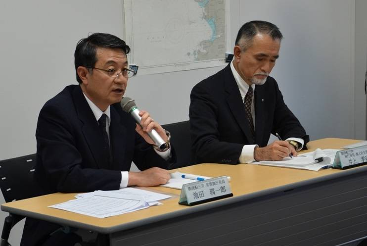 MOL Managing Executive Officer Junichiro Ikeda (left) and MOL Executive Officer Takaaki Inoue (right) (Photo: MOL)