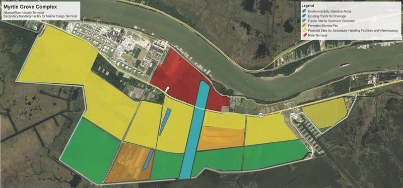 More than 3,500 acres are available at Myrtle Grove for a variety of port related projects.