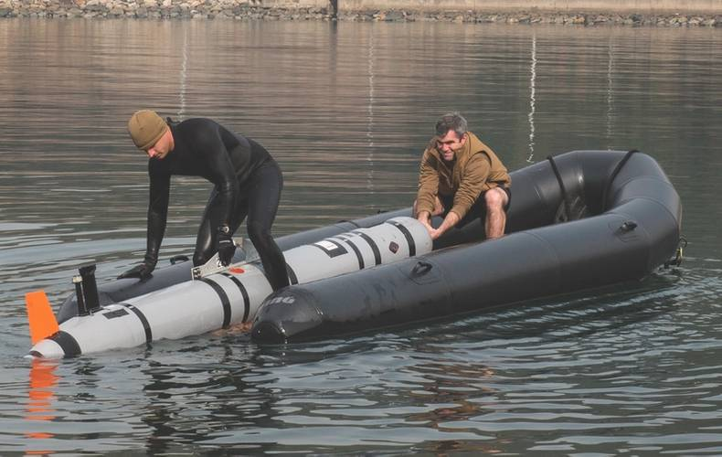 U.S. Navy Lt. j.g. Jeff Morehead (left) and Electronics Technician 2nd Class William Stark, with Explosive Ordnance Disposal Mobile Unit (EODMU) 5, pull a MK18 Mod 2 unmanned underwater vehicle onto a tow sled at Jinhae-gu, Republic of Korea (ROK) March 31, 2016 during exercise Foal Eagle 2016. (U.S. Navy photo by Charles E. White)