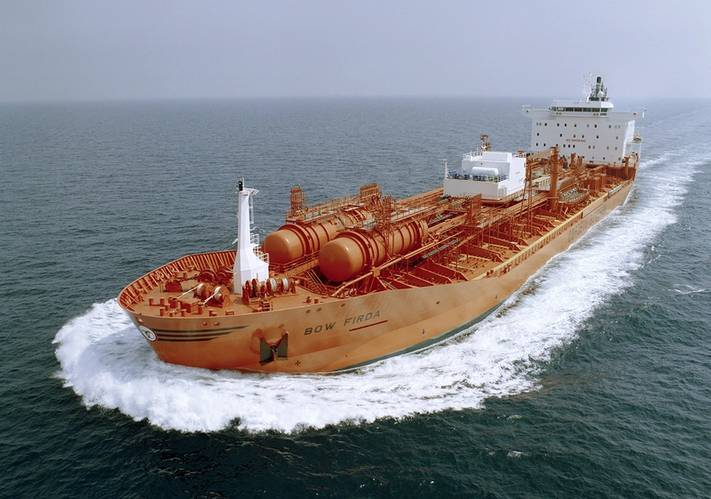 M/T Bow Firda, delivered in 2003, was the last and most advanced chemical tanker in Odfjell's 37,500 dwt Kværner Class. It is powered by an MAN B&W 7S50ME-C main engine driving a MAN Alpha VBS1560 propeller and shaft alternator (Photo: MAN Diesel & Turbo)