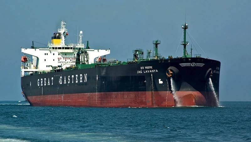 M/T Jag Lavanya, a 105,000 DWT crude-oil carrier owned by the Great Eastern Shipping Company