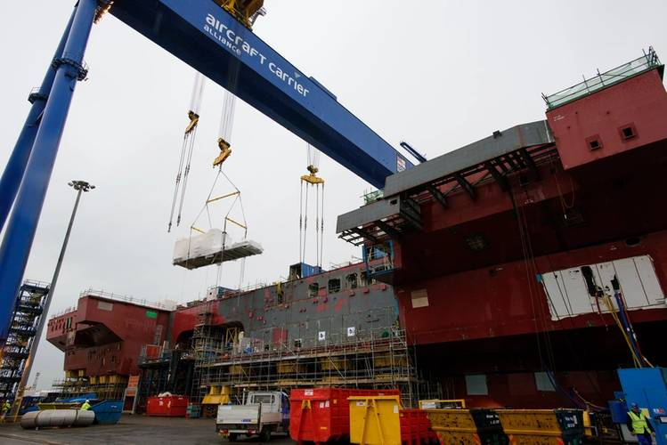 MT30 Gas Turbine Alternator lifted into the U.K. Royal Navy's latest aircraft carrier HMS Prince of Wales (Photo: John Linton)