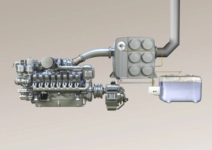 MTU diesel genset 16V 4000 with SCR exhaust aftertreatment for IMO Tier III emission requirements. The nitrogen oxide (NOx) emissions will be cut by 90% compared with the IMO Tier I regulation.