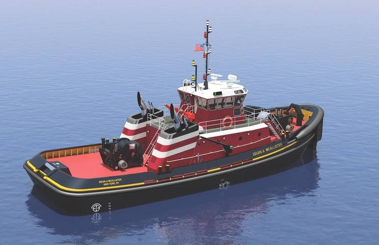 Multipurpose tugboats being built for McAllister Towing. Jensen Maritime, a Crowley Maritime-owned firm, designed the tugboat. (Image: Jensen Maritime)