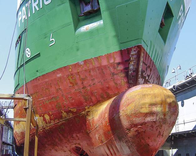 MV Patriot's hull after a year in the ice with a conventional ice coating.