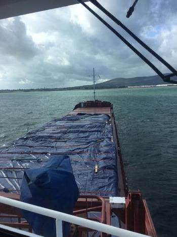 MV Ruyter was carrying timber from Russia to Northern Ireland, when it grounded on the north coast of Rathlin Island, Northern Ireland. (Photo: MCA)