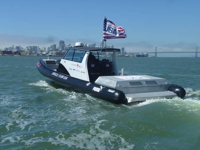 Naiad / Oracle Team U.S. support boats. Naiad Inflatables of Newport