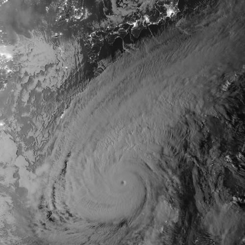 Nasa Earth Observatory image of Super Typhoon Nuri  NASA Earth Observatory image by Jesse Allen
