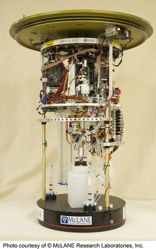 The second-generation environmental sample processor showing internal components (Credit: Courtesy of McLane Research Laboratories)
