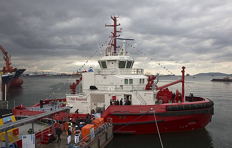 Newly christened Borgy, the world's first LNG powered tug prepares for commissioning