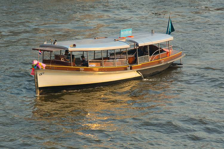 Newly-built tourist transfer boat, named Supapan #4, is 16- by 3.5-meters, built Sorpitaksin Shipyard in Ayutthya and powered by Cummins 6BTA-M 150-HP. Teak bright works and takien planking with teng frames. (Photo: Haig-Brown/Cummins)