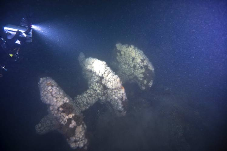 NOAA is able to confirm the identity of the Walker using various criteria, including the ship's unique paddlewheel flanges. (Credit: NOAA)