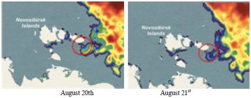 Northeastern passage clear of sea ice north of the Novosibrisk (New Siberian) Islands