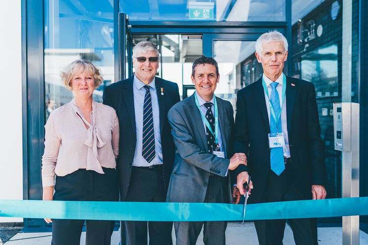 Officially opening the Academy (L-R) Jill Jaenicke, Dieter Jaenicke, Guy Platten, Sir Alan Massey KCB CBE (Photo: Maritime Skills Academy)
