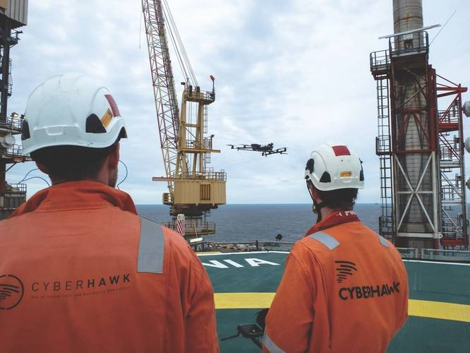 OFFSHORE: Cyberhawk team operating drones offshore (Photo: Cyberhawk Innovations)