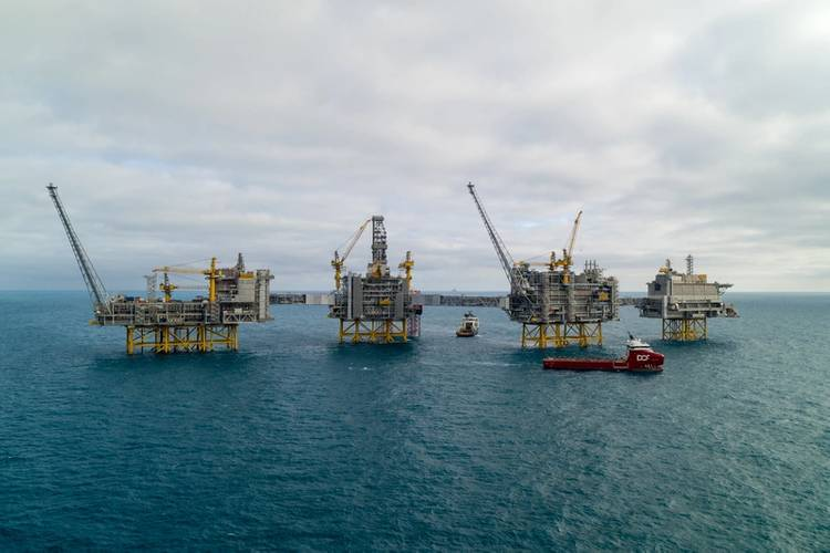 Oil and gas production will continue to hold a place in the future energy picture. The mega Johan Sverdrp field has expected recoverable reserves of 2.7 billion barrels of oil equivalent and the full field can produce up to 660,000 barrels of oil per day at peak. Powered with electricity from shore, the field has record-low CO2 emissions below 1 kilogram per barrel. (Photo: Equinor)