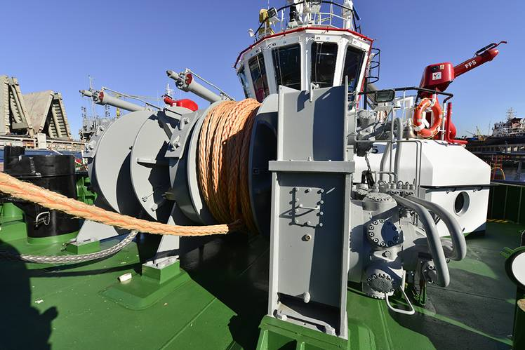On the fore deck is a double drum winch by Rolls-Royce – both drums each configured to hold 200 meters of 64 millimeter synthetic rope. (Photo: Sanmar)