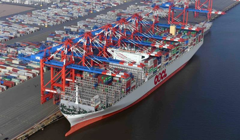 "OOCL Germany is the second ultra large container vessel (ULCV) in the Chinese shipping firm's ""G Class"" (Photo: EUROGATE)"