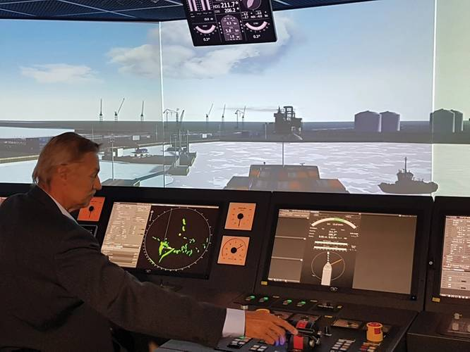 Ossi Westilä, Manager of Simulation Training, at Aboa Mare, taking on of the Yamal LNG carriers into the port of Sabetta using one of their ten simulators.   The Polar Code training includes a three days basic course and a two days advanced course, partlyo depending on the officer's working position.