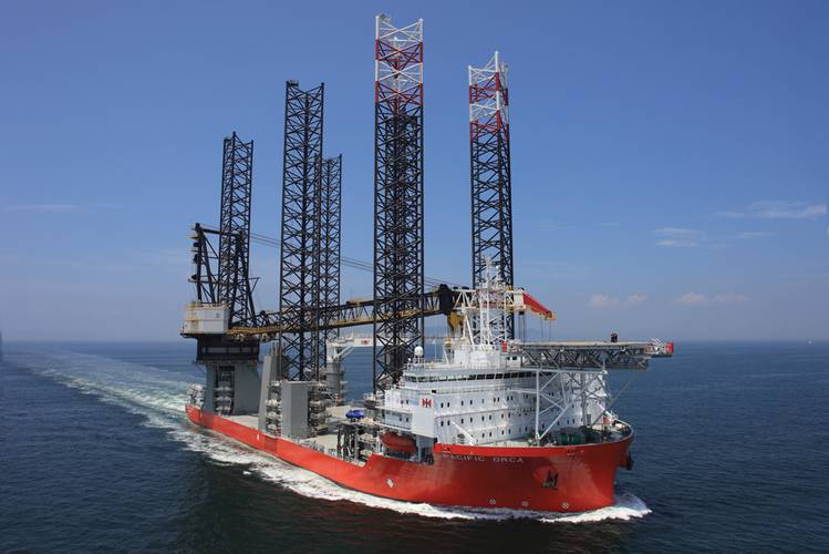 Pacific Orca, built by Samsung Heavy Industries, is the world's largest wind-farm installation vessel.