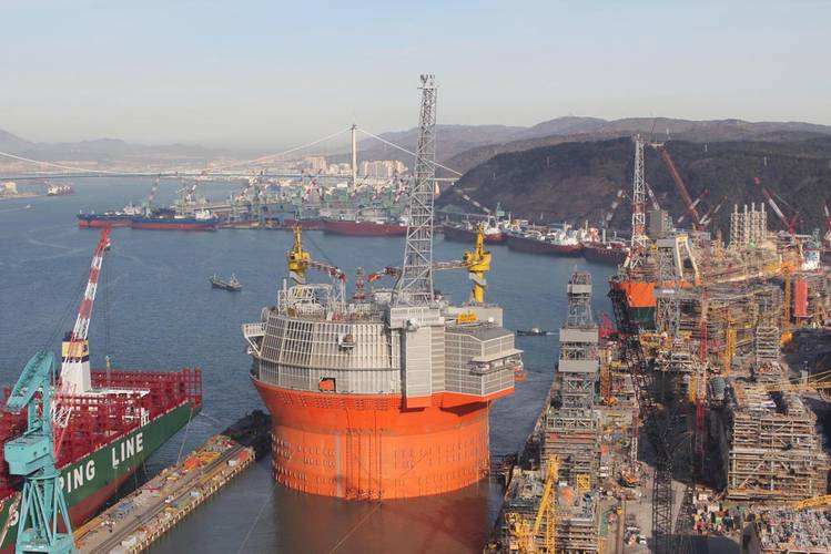 """Packed with """"optimized technology"""": The ENI FPSO at tow-out from its Korean yard.  Credit: Courtesy Eni Norge"""
