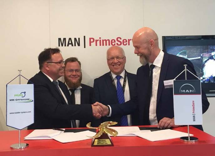 Pictured at the signing ceremony at Nor-Shipping (from left): Jan Hamann – President MM-Offshore; Helge Schmale – General Manager MM-Offshore; Jens Ring Nielsen – Senior Manager Propeller and Aft Ship, MAN Diesel & Turbo; and Poul Knudsgaard – Vice President and Head of Propeller and Aftship, MAN Diesel & Turbo (Photo: MAN Diesel & Turbo)