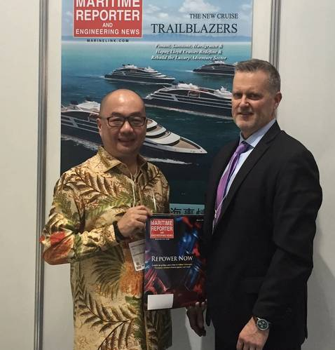 Pictured is Johnson W. Sutjipto, Chairman, Indonesian National Shipowners' Association (DPP INSA) -- an organization with more than 3,800 members representing nearly 37,000 vessels -- who spent time at Maritime Reporter & Engineering News' booth at Sea Japan to interview for an upcoming edition. (Photo: Rob Howard)
