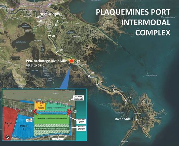 Plaquemines Port Complex is located at mile 53-55 on the lower Mississippi River. It is the southernmost of the 5 major deep-water ports on the river.