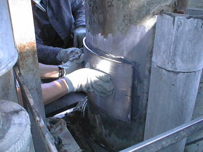 Plate bonding repair on equipment