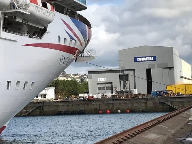 P&O Cruises Ventura at Damen Shiprepair Brest Photo Damen
