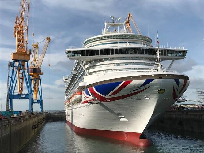 P&O Cruises Ventura completes two-week docking at Damen Shiprepair Brest Photo Damen