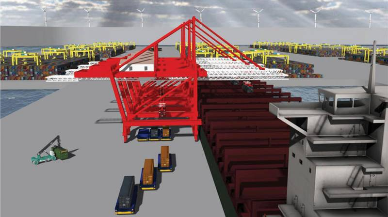 Portunus showing interface of triple-pick cranes and automated guided vehicles and automated stacks in the background.  (LLNL photo; Inset photo courtesy ZPMC)