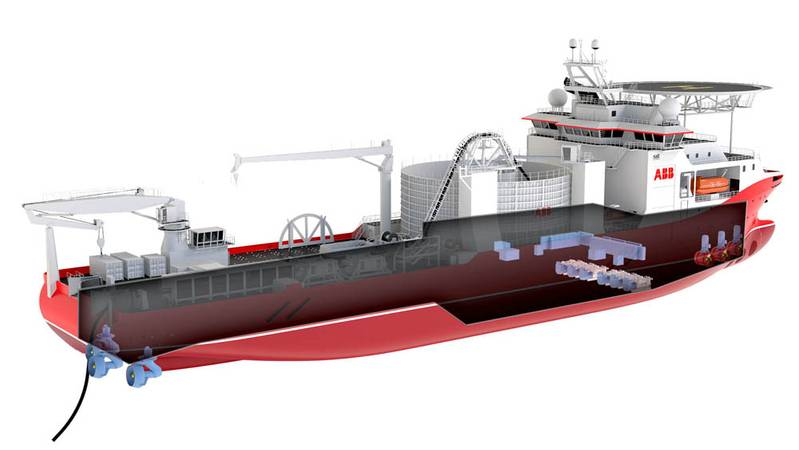 Power storage: The battery placed  amidships, aft of the the gen sets. Illustration: Salt Ship Design