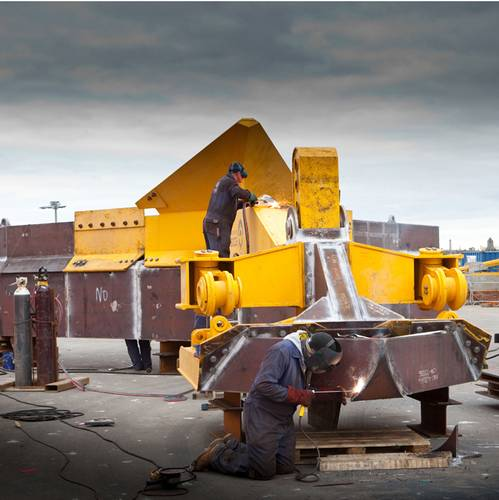 Preparing the SCAR subsea plough for deployment.