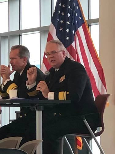 RADM Michael Alfultis, President, SUNY Maritime College (Right). Photo: Greg Trauthwein