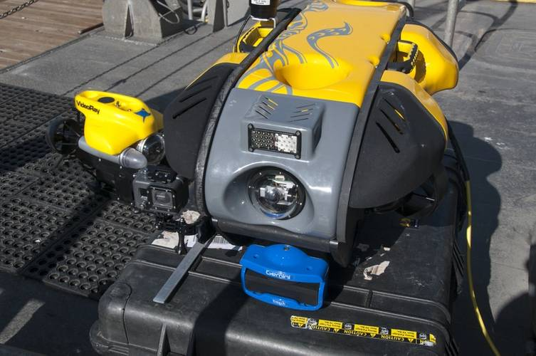 VideoRay Mission Specialist remotely operated vehicle (ROV) on board the NOAA R/V Shearwater. (Credit: Robert V. Schwemmer NOAA)