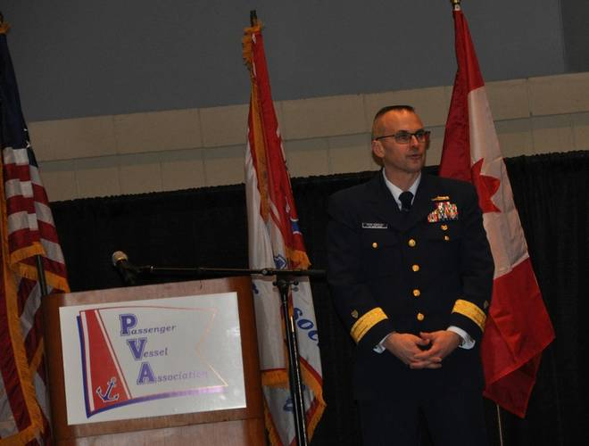 Rear Adm. John Nadeau, assistant commandant for prevention policy at a recent PVA event. (Image CREDIT: Joseph Keefe)
