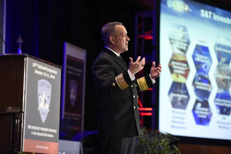 Rear Adm. Winter speaks at the 28th annual SNA)National Symposium. (U.S. Navy photo by John F. Williams)