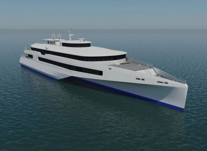 Render of the proposed 80 meter trimaran high speed passenger ferry concept for JR Kyushu Jet Ferry, announced in Japan (Image: Austal)