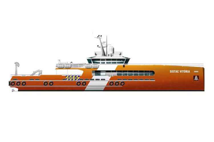 Rendering of first of three 42.5m Monohull DSVs under construction at Seasafe for Sistac Marine